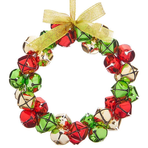 Red, Green and Gold Jingle Bell Wreath Ornament - RAZ IMPORTS INC - The Shops at Mount Vernon