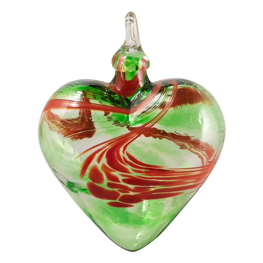 Green/Red Swirl Heart Ornament - GLASS EYE STUDIO - The Shops at Mount Vernon