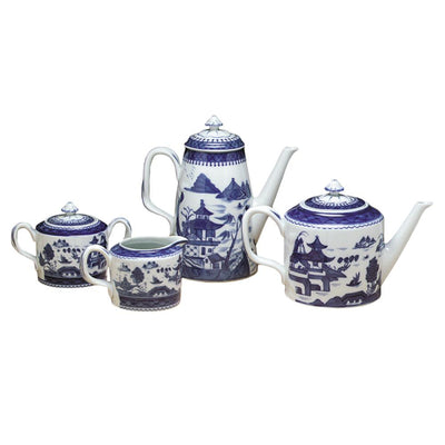 Blue Canton Coffeepot, Teapot, Creamer and Sugar Bowl by Mottahedeh
