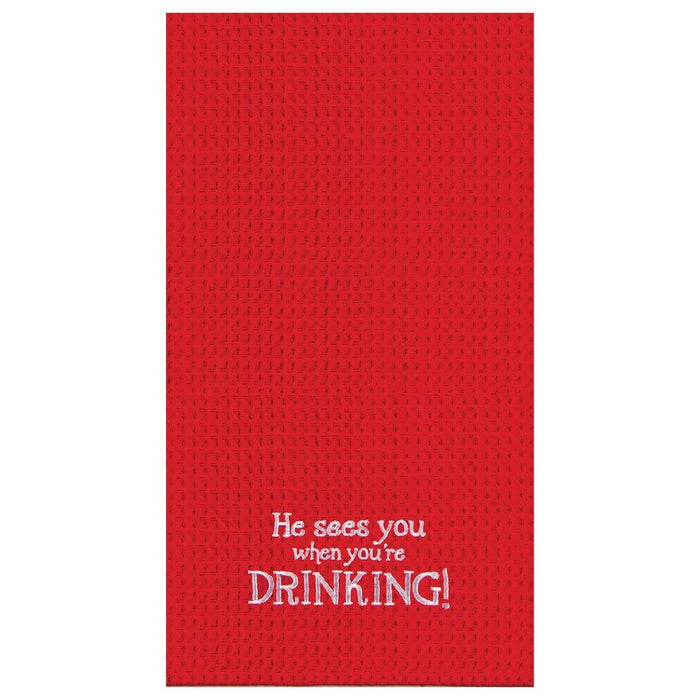 He Sees You When You're Drinking Towel - C & F ENTERPRISE - The Shops at Mount Vernon