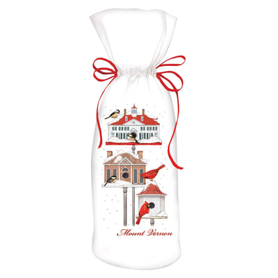 Winter Bird Houses Wine Bag
