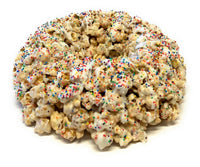 Birthday Cake Popcorn Cake with Chocolate Drizzle