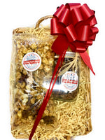 Caramel Pecan Popcorn and Frosted Nuts in a Mason Jar Gift Basket