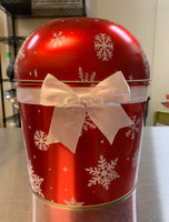 Christmas Red Snowflake Popcorn Tin with Bowl Top 1.75 Gallon Pick Your Flavor