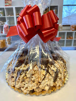 Reeses Popcorn Cake with Chocolate and Peanut Butter Drizzle