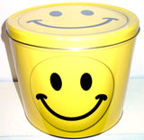 smiley face popcorn tin
