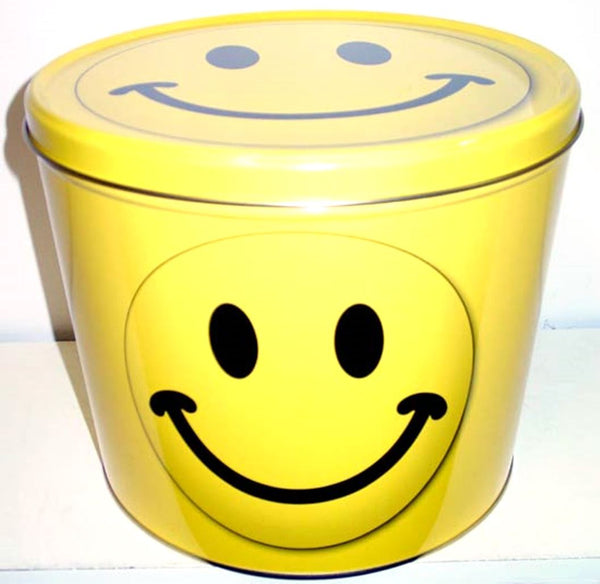 Smiley Face Gourmet Popcorn Tin 2 Gallon Pick Your Flavor