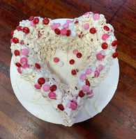 Valentines Day Popcorn Cake w M&M's and White Chocolate