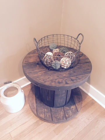 Rustic Spool Side Table