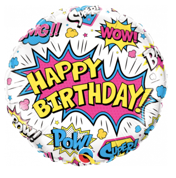 WOW Happy Birthday Helium Balloon- White 45cm