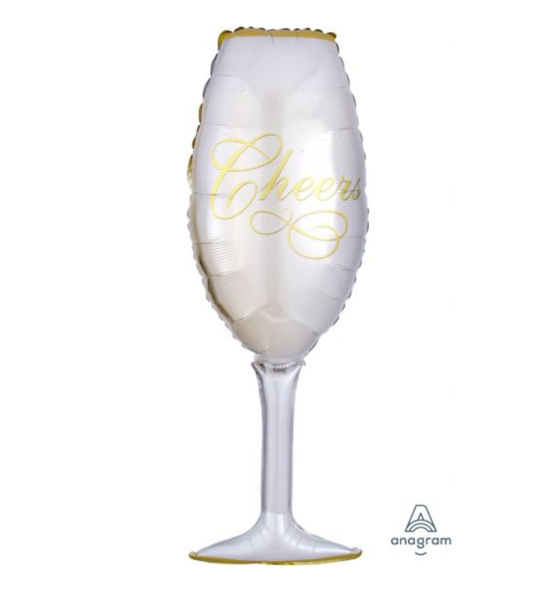 'Champagne Glass - Cheers' Foil Large Helium Balloon