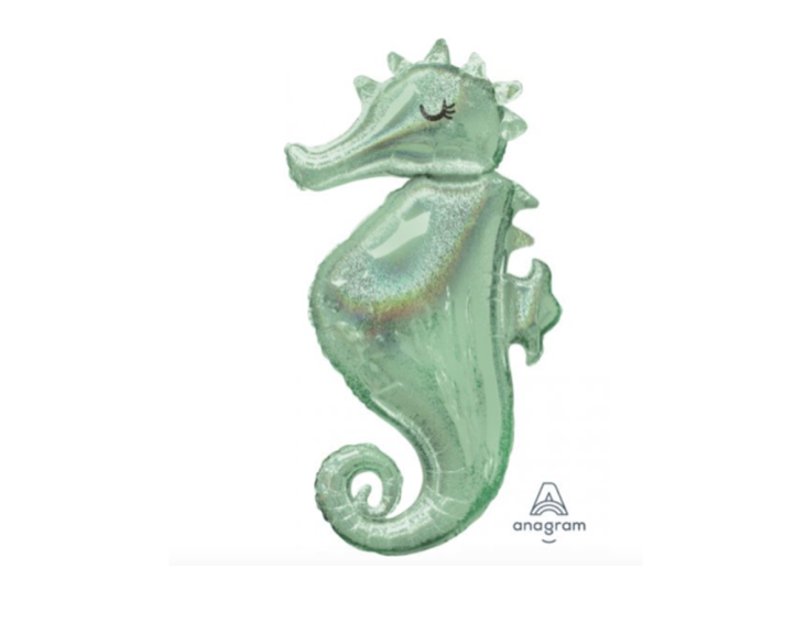 'Holographic Seahorse' Foil Large Helium Balloon