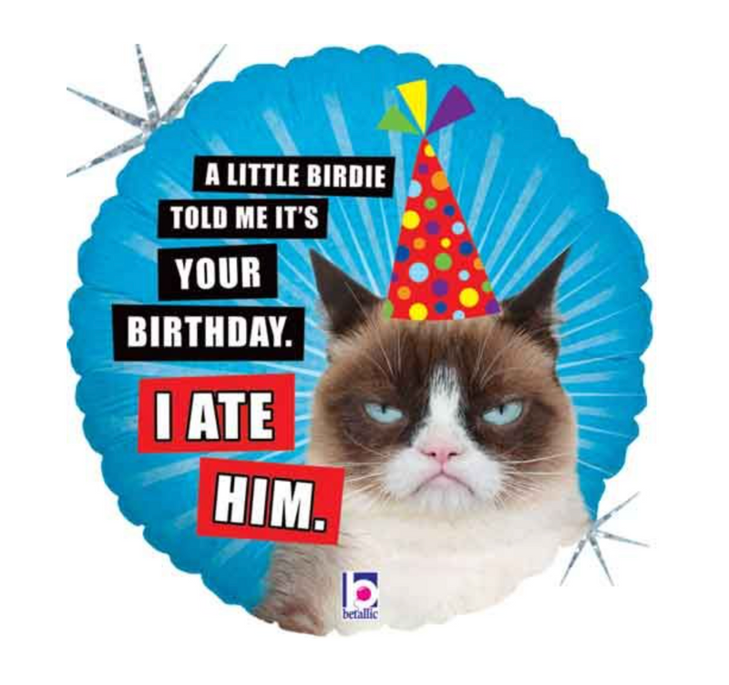 'Grump Cat - Little birdie told me' Helium Balloon
