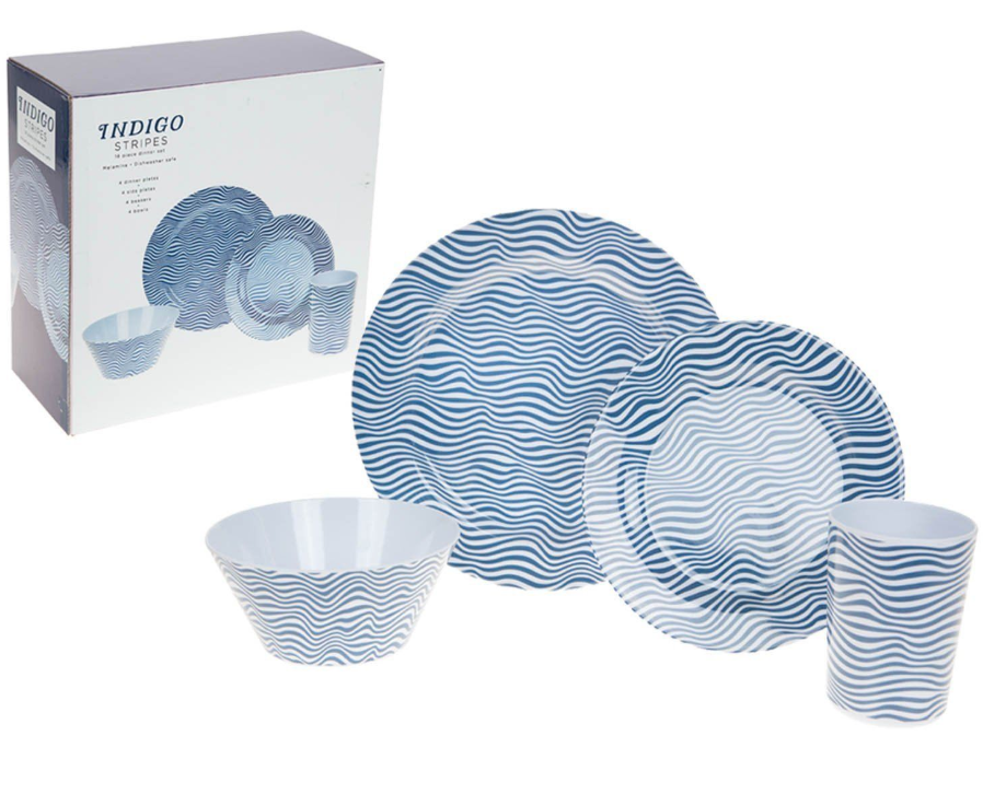 Summit Indigo Stripes 16 Piece Melamine Dinner Set Dining