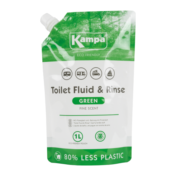 Kampa Dometic Toilet Fluid & Rinse - Green 1L Eco Pouch