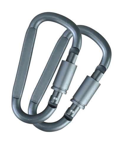 Kombat locking carabiners 6mm pair Gunmetal Grey
