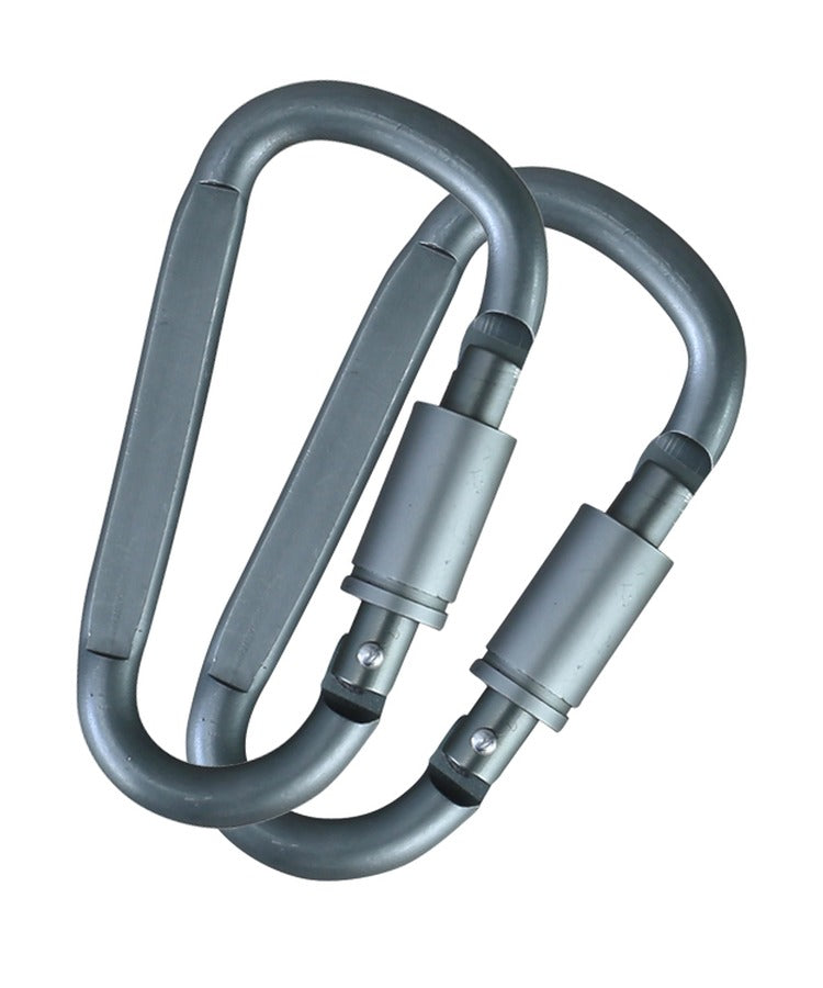 Kombat locking carabiners 8mm pair Gunmetal Grey