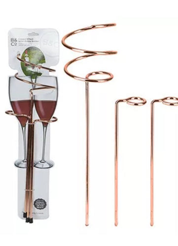 B&Co Copper Effect Wine Bottle and Glass Holders