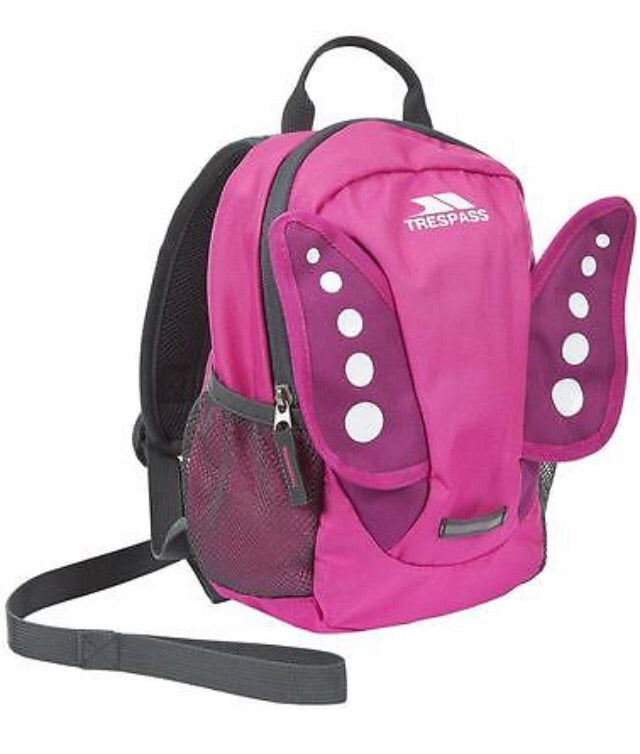 Trespass Tiddler Toddler Back Pack with Safety Rein pink butterfly