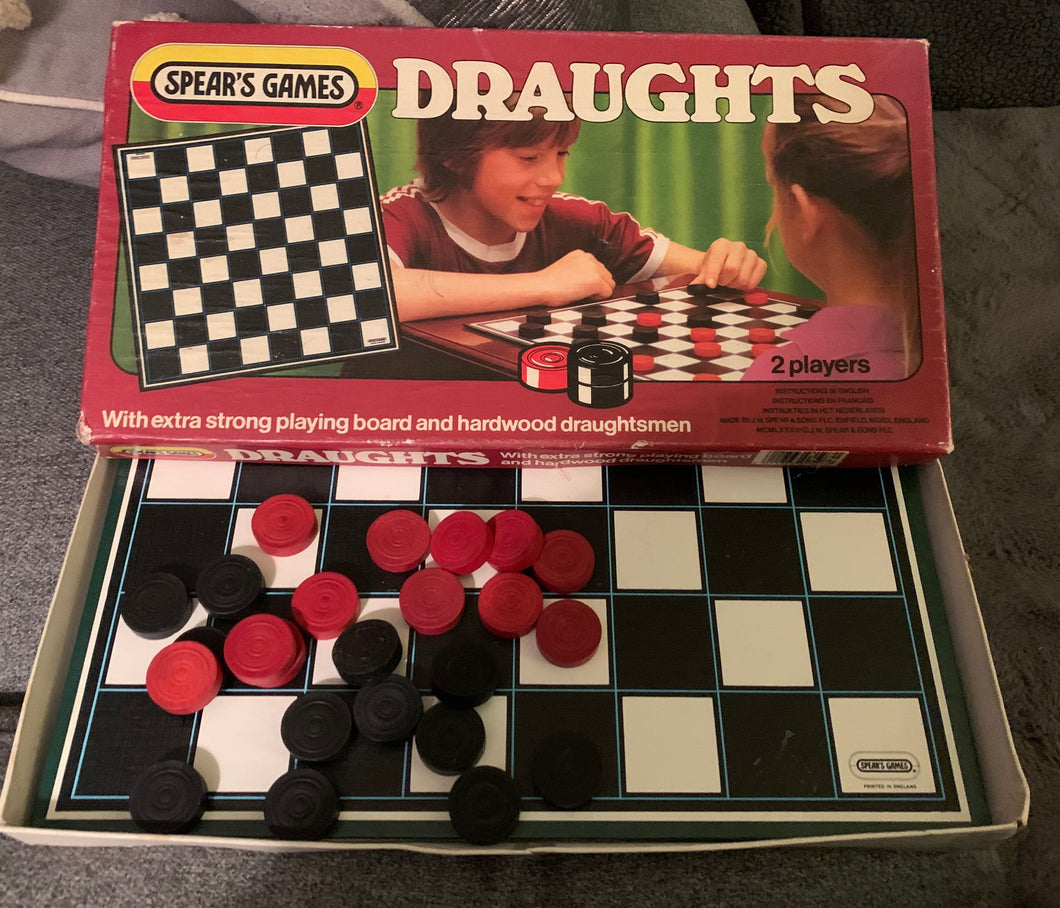 Vintage draughts set and board