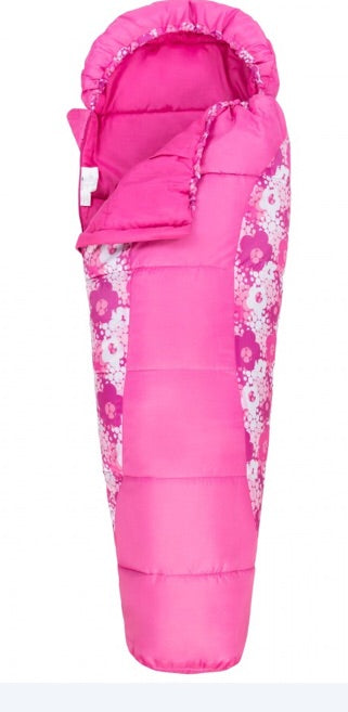 Trespass BUNKA Pink candyburst LIGHTWEIGHT KIDS' MUMMY STYLE SLEEPING BAG