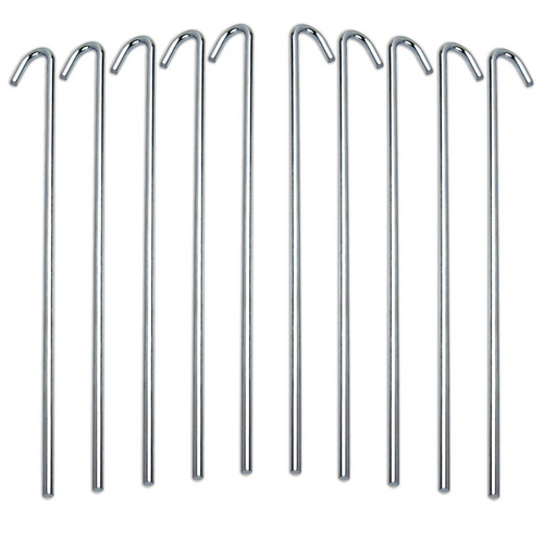 Steel tent pegs pack of 10