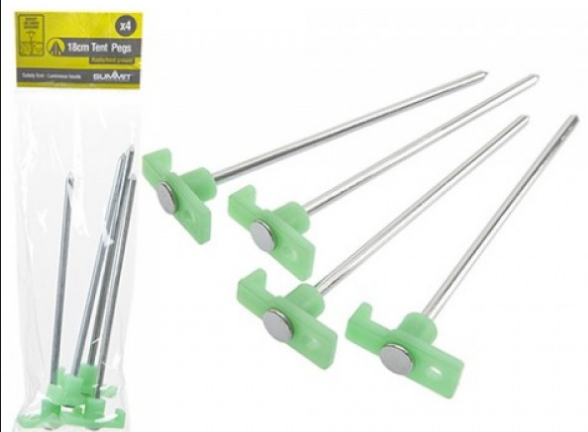 Summit 18cm Tent Pegs with luminous heads for rocky/hard ground x 4