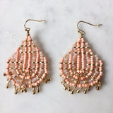 Beaded earring with mini gold drops