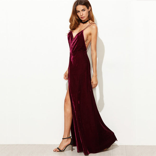 Burgundy Velvet V-Neck Backless Maxi Dress at ModernLifeWay.com