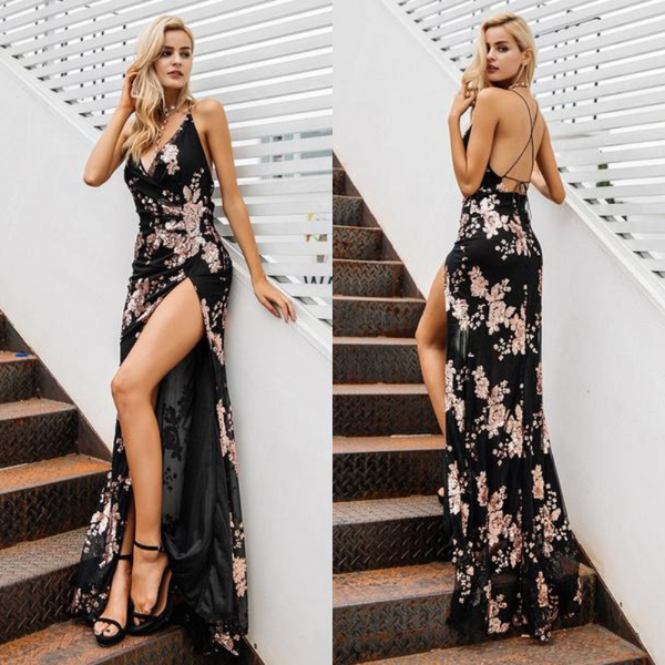 Lace Up Halter Sequin High Split Maxi Dress at ModernLifeWay.com