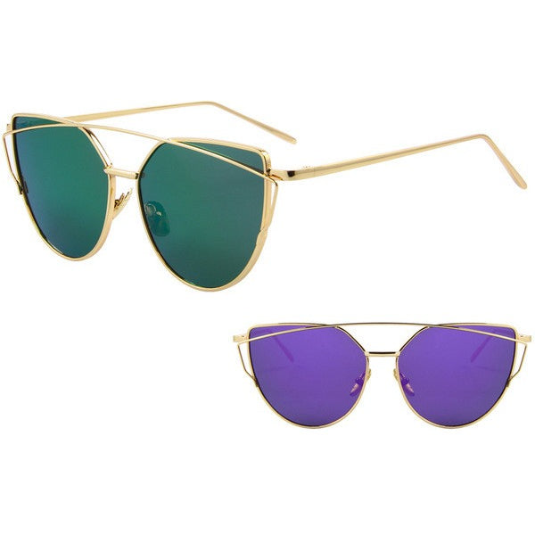 Mirror Flat Lenses Women's Cat Eye Sunglasses at ModernLifeWay.com