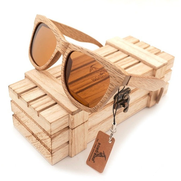 BOBO BIRD Wooden Mirror Polarized Sunglasses at ModernLifeWay.com