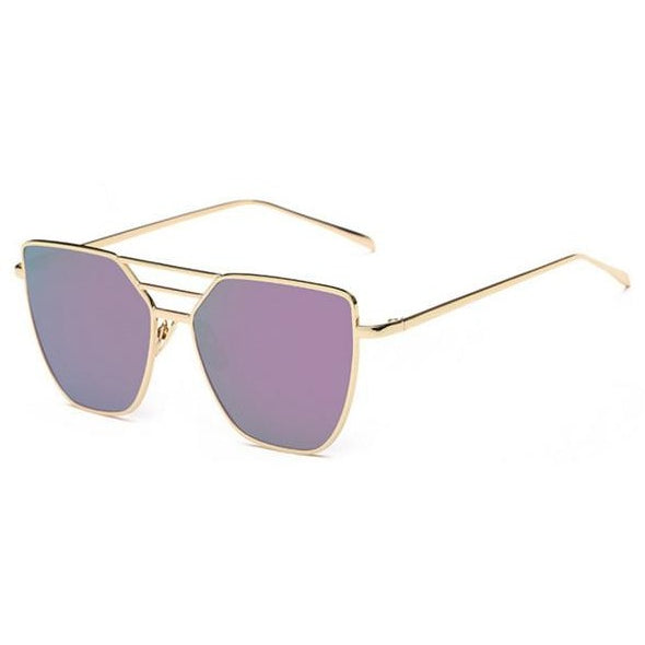 Cat eye Flat Top Purple Gold Women's Mirror Sunglasses