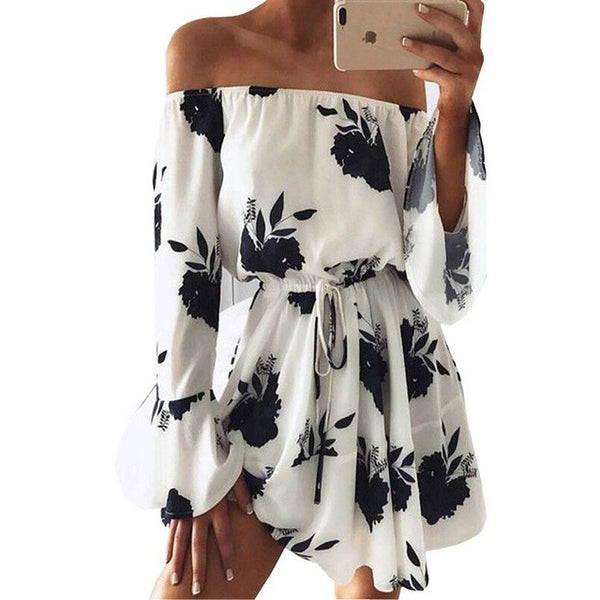 Floral Print Off Shoulder Boho Mini Dress at ModernLifeWay.com