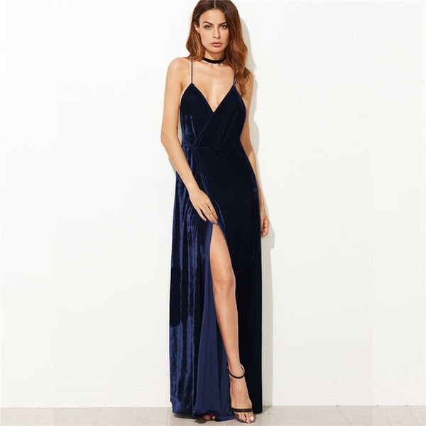 Dark Blue Velvet V-Neck Backless Maxi Dress at ModernLifeWay.com