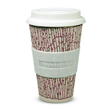 "Becher ""Coffee to go"" lila gemustert"