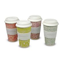 "Becher ""Coffee to go"" gelb gemustert"