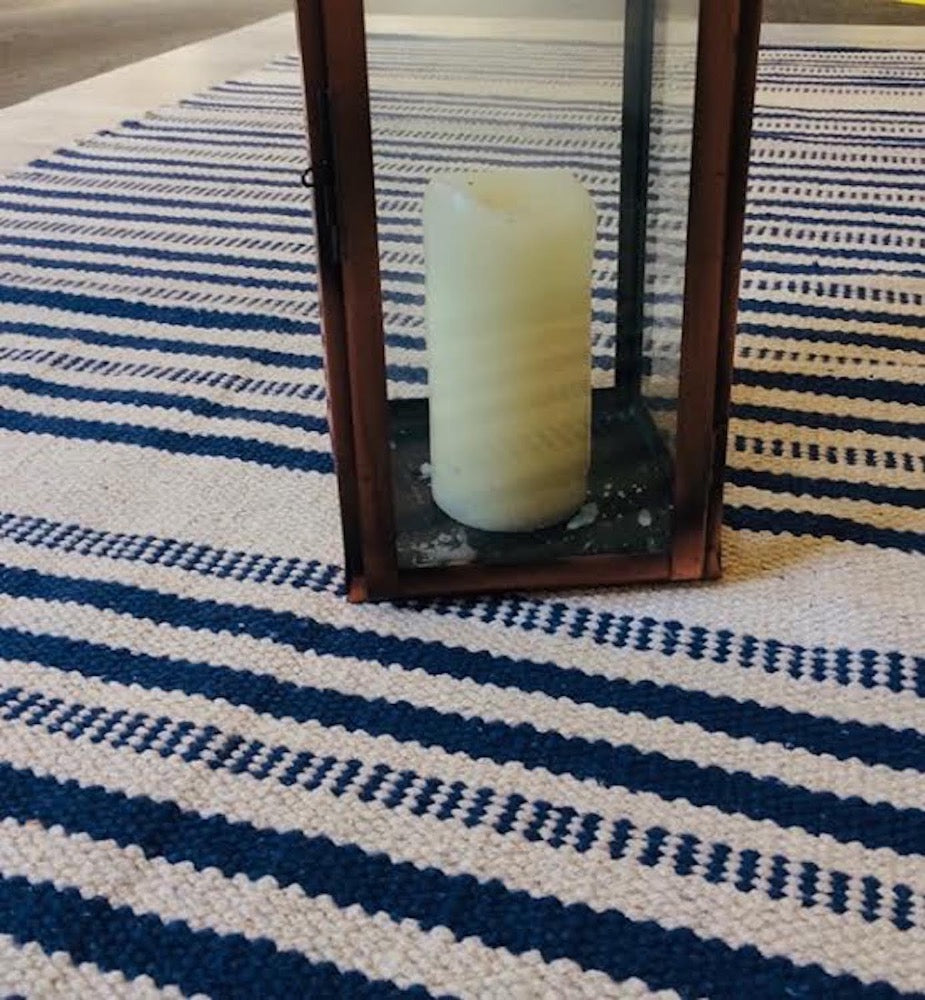ANNIKA Blue and Natural Striped Heavy Duty Cotton Rug 90 x 150 cm NEW!