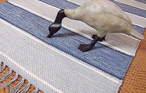 Swedish blue and white striped cotton rug