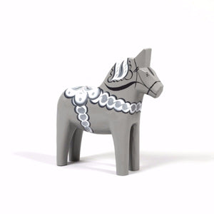 Swedish Wooden Dala Horse Grey & White