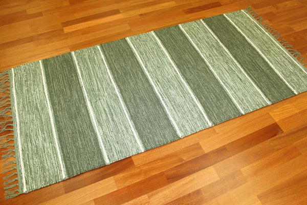 STYRSÖ Swedish Greens and white 100% cotton striped rug