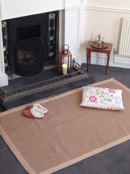 TUFF Natural Jute Rugs with Cotton Borders 3 sizes/4 colours