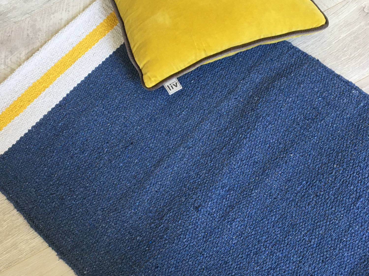 Bari Navy Blue Recycled Cotton Rug