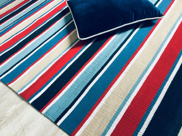 KUST Fine Cotton Rug in Red/White/Blue Stripes 2 sizes