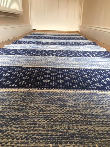 BIRGIT Swedish Stunning Blues/White Striped Cotton Trasmattor Rug in 4 sizes
