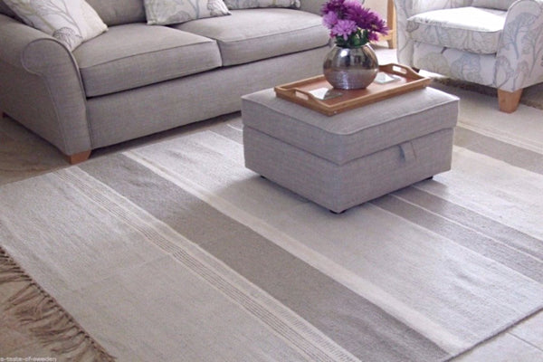 Cotton and jute striped neutral rug