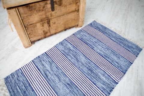 BIRGIT Stunning Blues/White Striped 100% Cotton Rug in 5 sizes