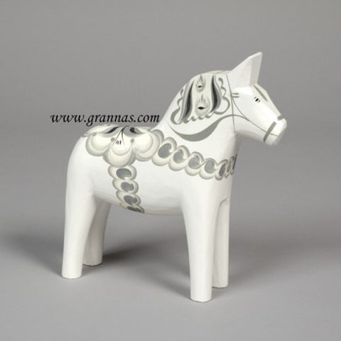 "DALA HORSE from Grannas Sweden 13 cms ""Nord"" White/Grey"