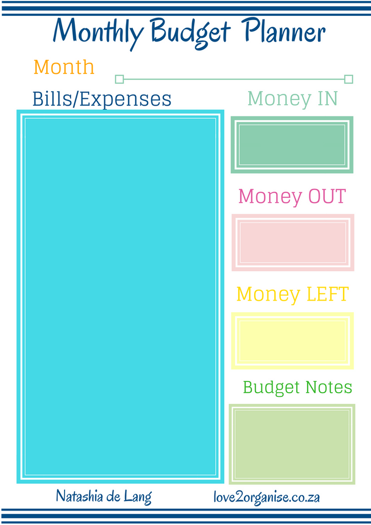 monthly budget planner love 2 organise