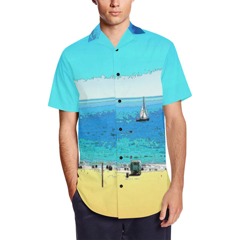 MEN'S SHIRT SHORT SLEEVE HAWAIIAN 01 - AT THE BEACH
